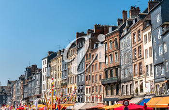 Traditional houses in the harbour of Honfleur town. Calvados, Normandy, France