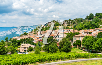 View of Aiguines village in the Var department of France