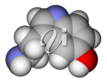 Optimized molecular structure of serotonin on a white background