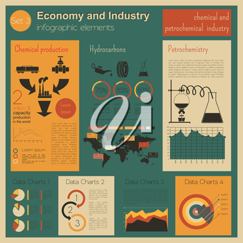 Economy and industry. Chemical and petrochemical industry. Industrial infographic template. Vector illustration