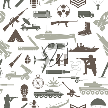 Military background. Seamless pattern. Military elements, armored vehicles. Vector illustration