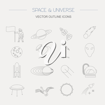 Space, universe graphic design. Linear icon set. Vector illustration