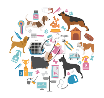 Dog icon set. Heatlh care, vet, nutrition, exhibition. Vector illustration