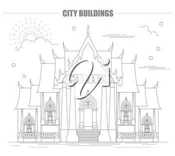City buildings graphic template. Thailand. Marble Temple. Vector illustration