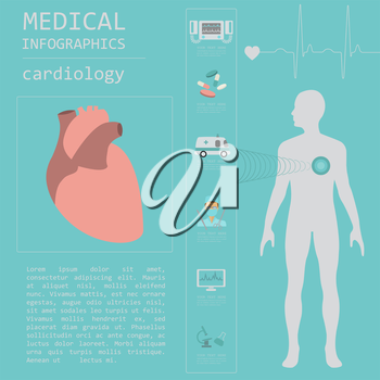Medical and healthcare infographic, Cardiology infographics. Vector illustration