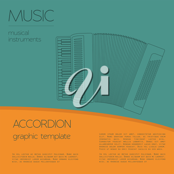 Musical instruments graphic template. Accordion. Vector illustration