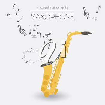 Musical instruments graphic template. Saxophone. Vector illustration