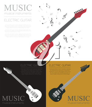 Musical instruments graphic template. Electric guitar. Vector illustration