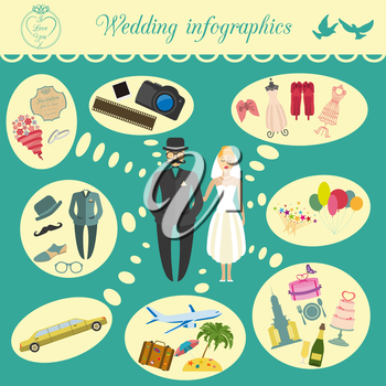 Set of vintage wedding, fashion style and travel infographic elements, templates. Vector illustration