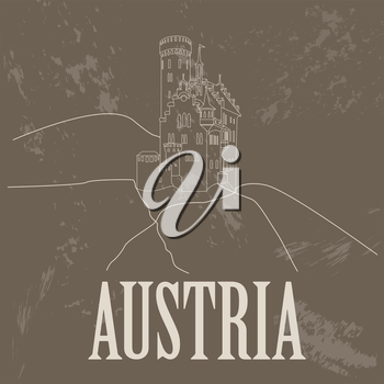 Austria landmarks. Retro styled image. Vector illustration