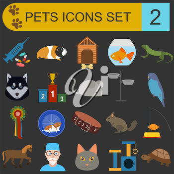 Domestic pets and vet healthcare flat icons set. Vector illustration