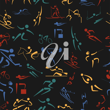Sport seamless pattern. Flat style. Vector illustration