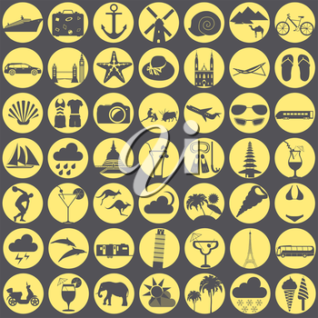 Travel. Vacations. Beach resort set icons. Elements for creating your own infographics. Vector illustrations