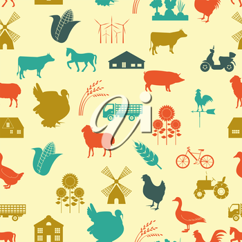 Agriculture background, seamless. Vector illustration