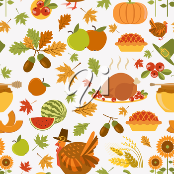 Thanksgiving day seamless pattern.  Vector illustration