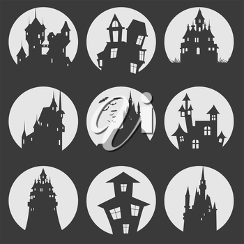 Misterious house in the dark night. Halloween holiday. Flat icons. Vector illustration