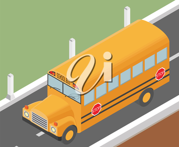 Flat 3d isometricschoolbus for city map transportation constructor isolated on white. Build your own infographic collection. Vector illustration