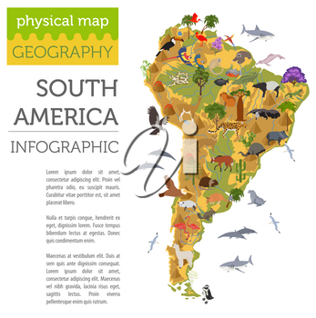South America flora and fauna map, flat elements. Animals, birds and sea life big set. Build your geography infographics collection. Vector illustration