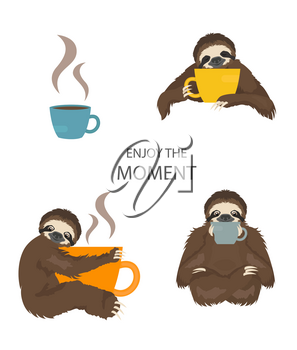 The story of one sloth. Morning cofee. Funny cartoon sloths in different postures set. Vector illustration