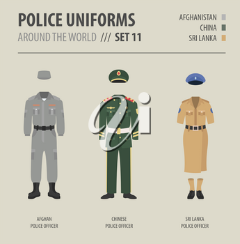 Police uniforms around the world. Suit, clothing of asian police officers vector illustrations set