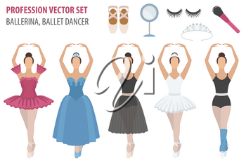 Profession and occupation set. Ballerina equipment flat design icon. Different suits of ballet dancer. Vector illustration