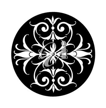 Royalty Free Clipart Image of a Decorative Accent in a Round Circle