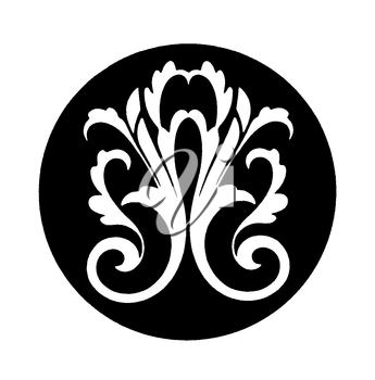 Royalty Free Clipart Image of a Victorian Design in a Black Circle
