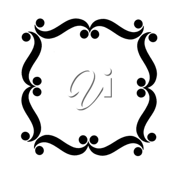 Royalty Free Clipart Image of a Frame With Wavy Lines and Dots