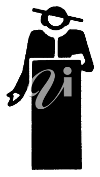 Royalty Free Clipart Image of a Colonial Man at a Podium