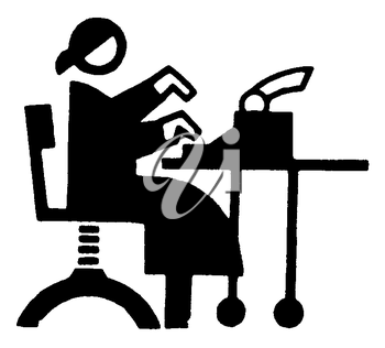 Royalty Free Clipart Image of a Woman Typing