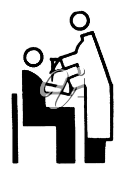 Royalty Free Clipart Image of a Doctor Giving a Patient a Needle