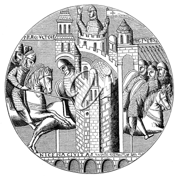 Royalty Free Clipart Image of Storming the Castle