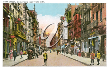 Royalty Free Clipart Image of a Postcard of Mott Street in New York's Chinatown
