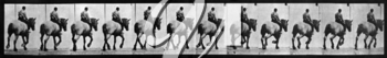 Royalty Free Photo of a Repeating Pattern of Horse and Rider from the Back