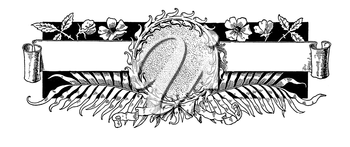 Royalty Free Clipart Image of a Medallion and Scroll