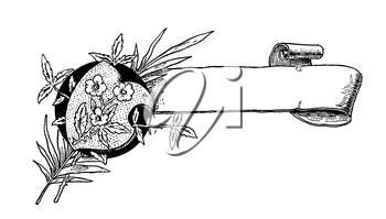 Royalty Free Clipart Image of a Scroll and Flowers