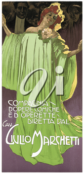 Royalty Free Clipart Image of an Old Theatre an Opera Poster Promoting the Director