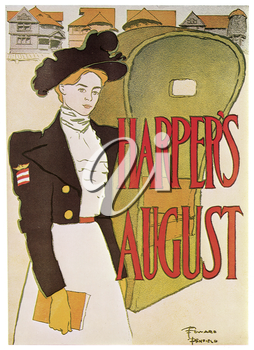 Royalty Free Clipart Image of an Old Theatre Poster for the Play Harper's August