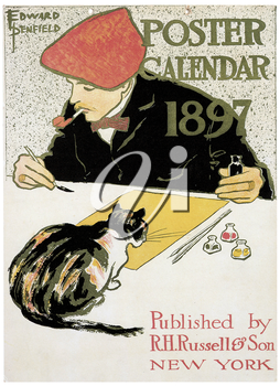Royalty Free Clipart Image of a 1897 Calendar Poster