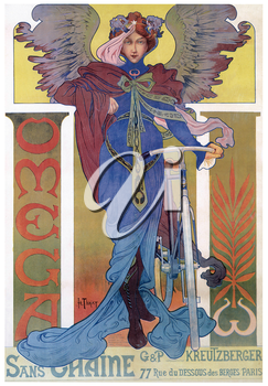 Royalty Free Clipart Image of an Old Omega Bike Advertisement Poster