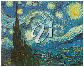 Royalty Free Clipart Image of Van Gogh's Starry Night