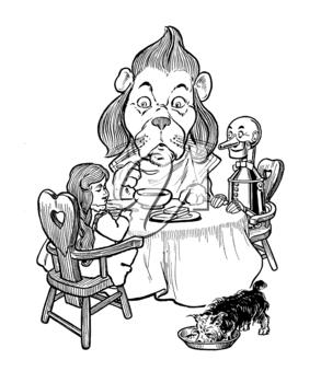 Royalty Free Clipart Image of a Lion at a Tea Party