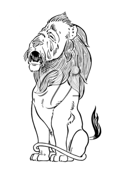 Royalty Free Clipart Image of a Lion Crying