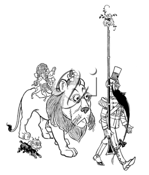 Royalty Free Clipart Image of a Lion, Girl, Dog, and Man
