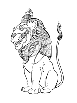 Royalty Free Clipart Image of a Lion Wearing Glasses
