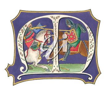 Royalty Free Clipart Image of a Crest With Knights Fighting