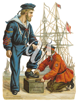 Royalty Free Clipart Image of Sailor Getting a Shoeshine
