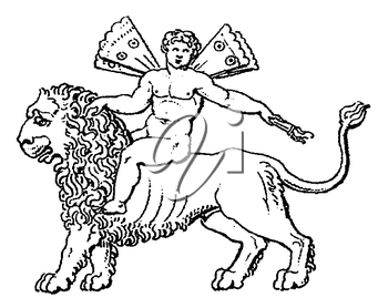 Royalty Free Clipart Image of an Angel Riding a Lion
