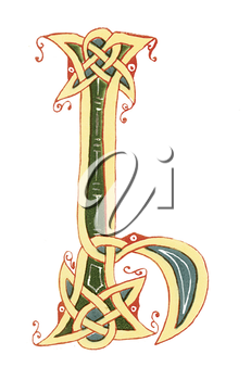 Royalty Free Clipart Image of a Celtic Design for a Letter I