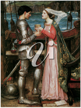 Royalty Free Clipart Image of Tristan and Isolde by John William Waterhouse